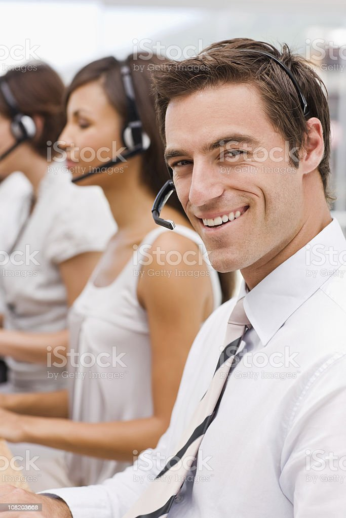 Closeup of happy businessman smiling royalty-free stock photo