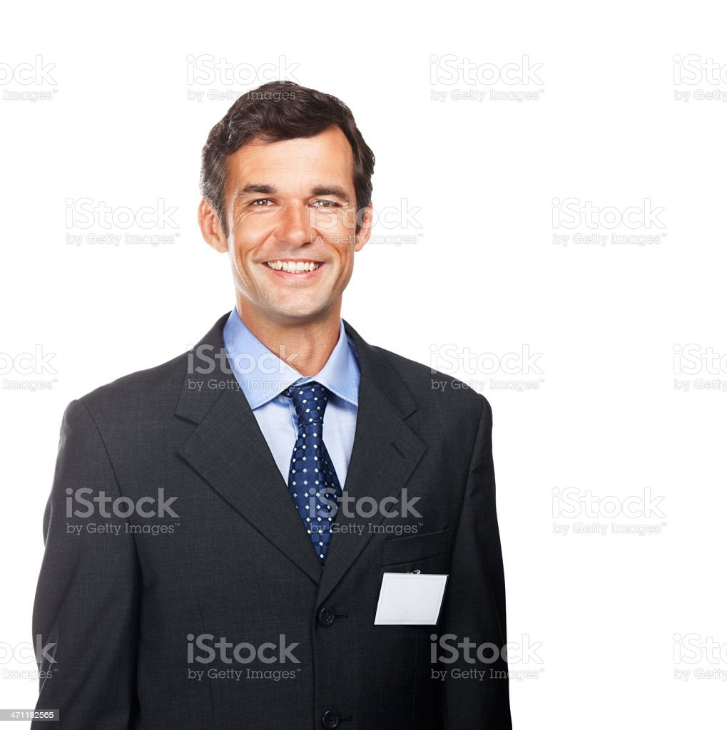 Close-up of happy businessman wearing badge royalty-free stock photo