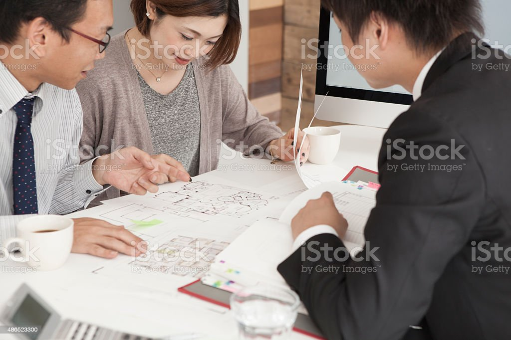 Closeup of happy couple buying a new house stock photo