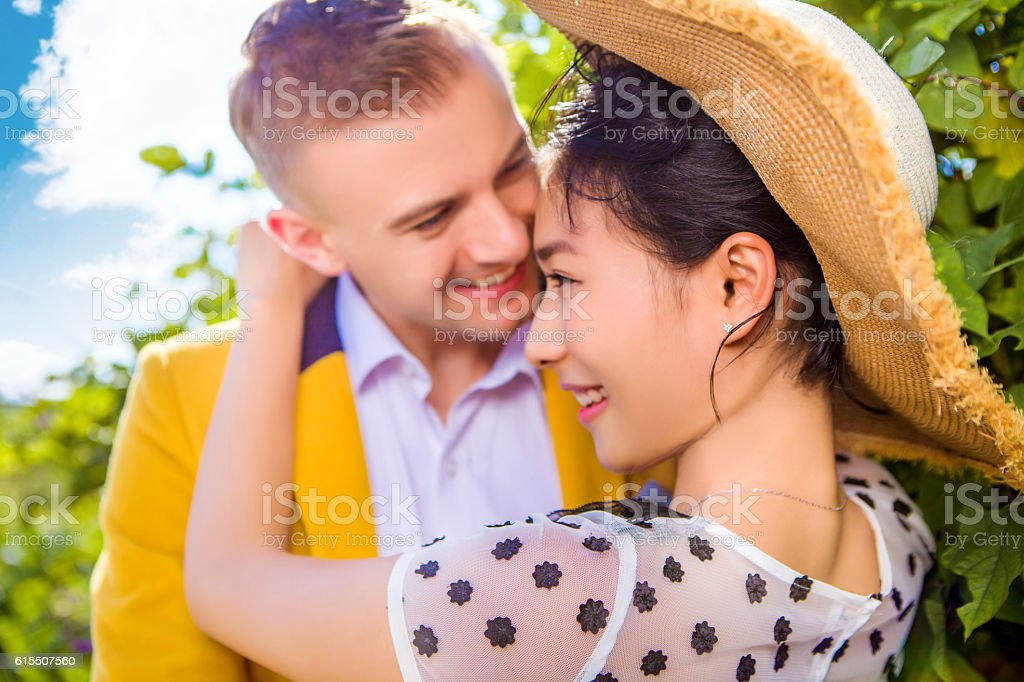 Close-up of happy loving couple outdoors stock photo