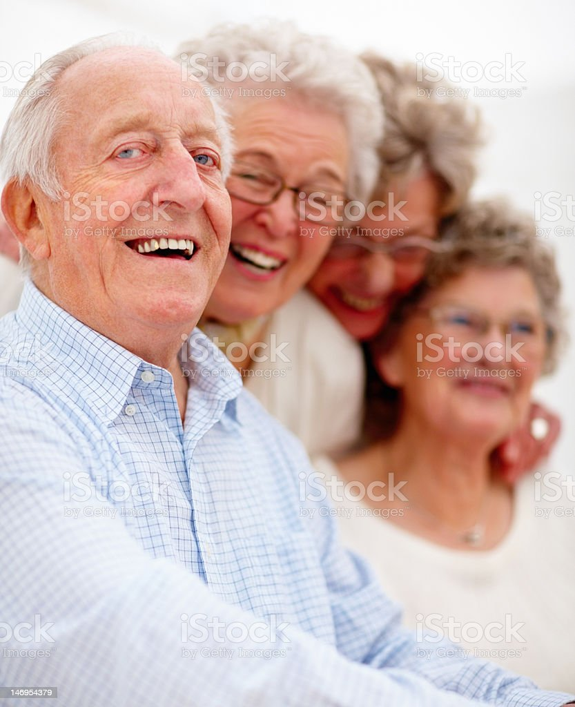 Close-up of happy senior adults royalty-free stock photo