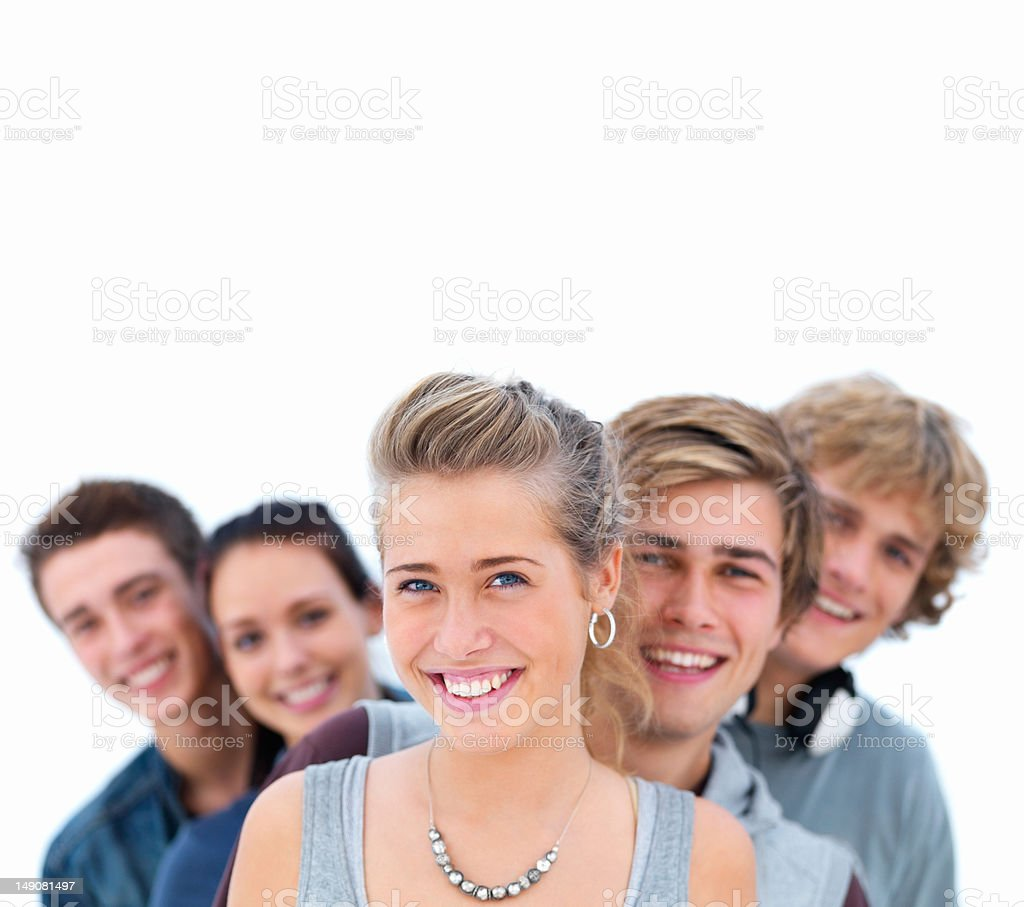 Close-up of happy young men and women royalty-free stock photo
