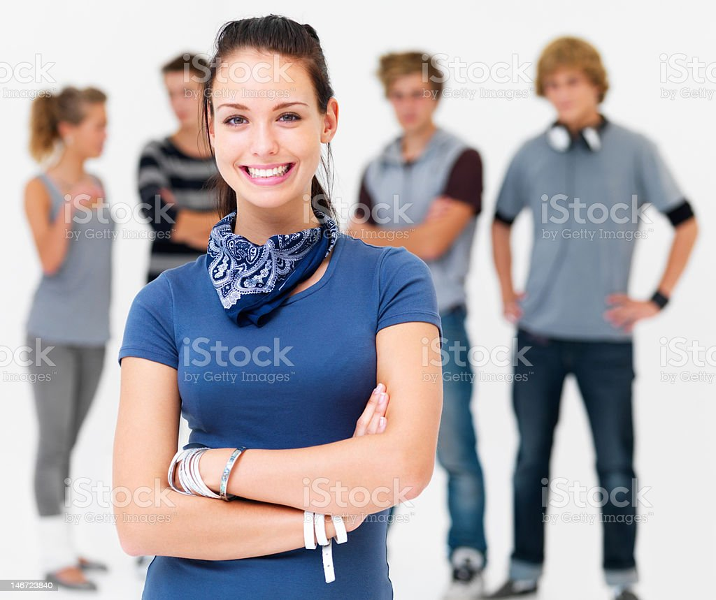 Close-up of happy young woman smiling royalty-free stock photo