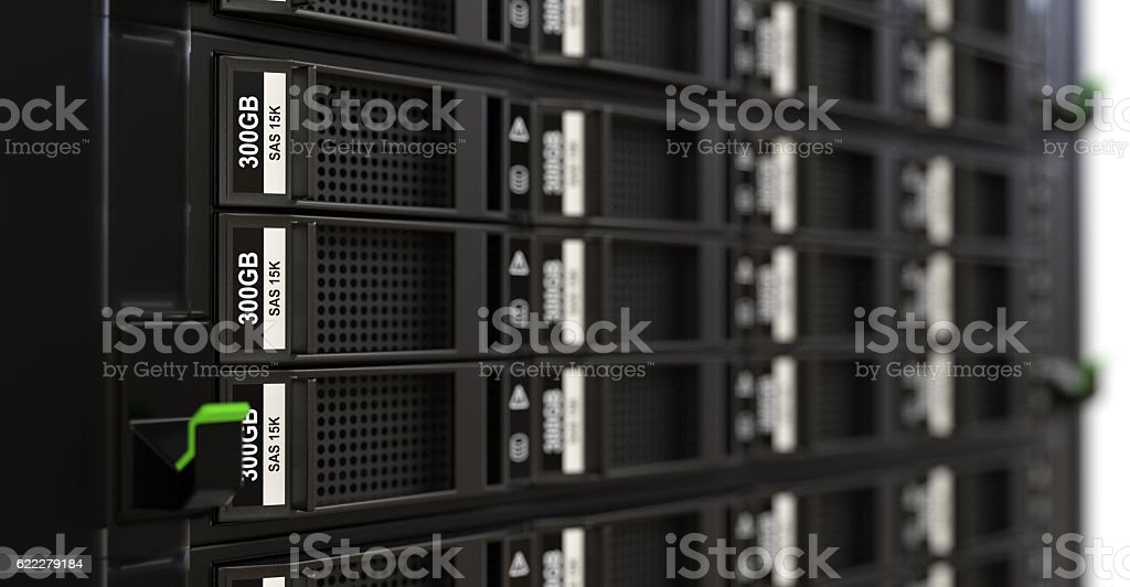 Close-up of hard drives stock photo