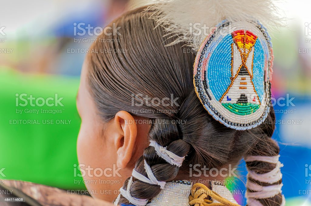 Closeup of Headress on native American stock photo