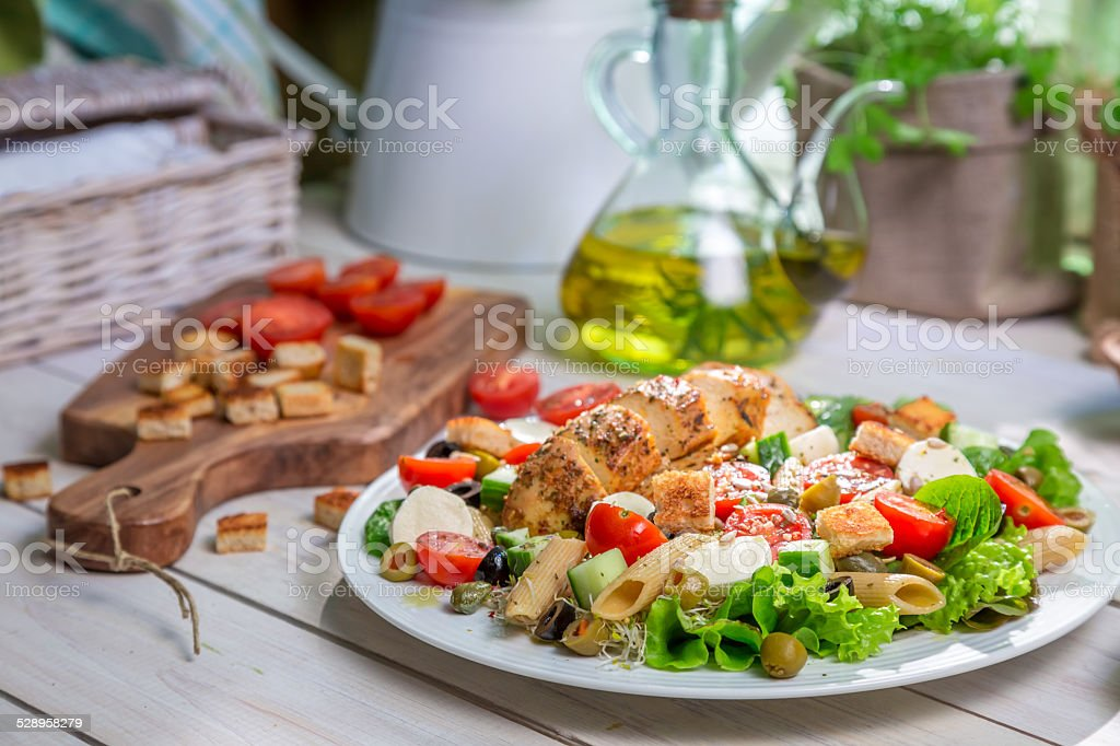 Closeup of healthy salad with vegetables stock photo