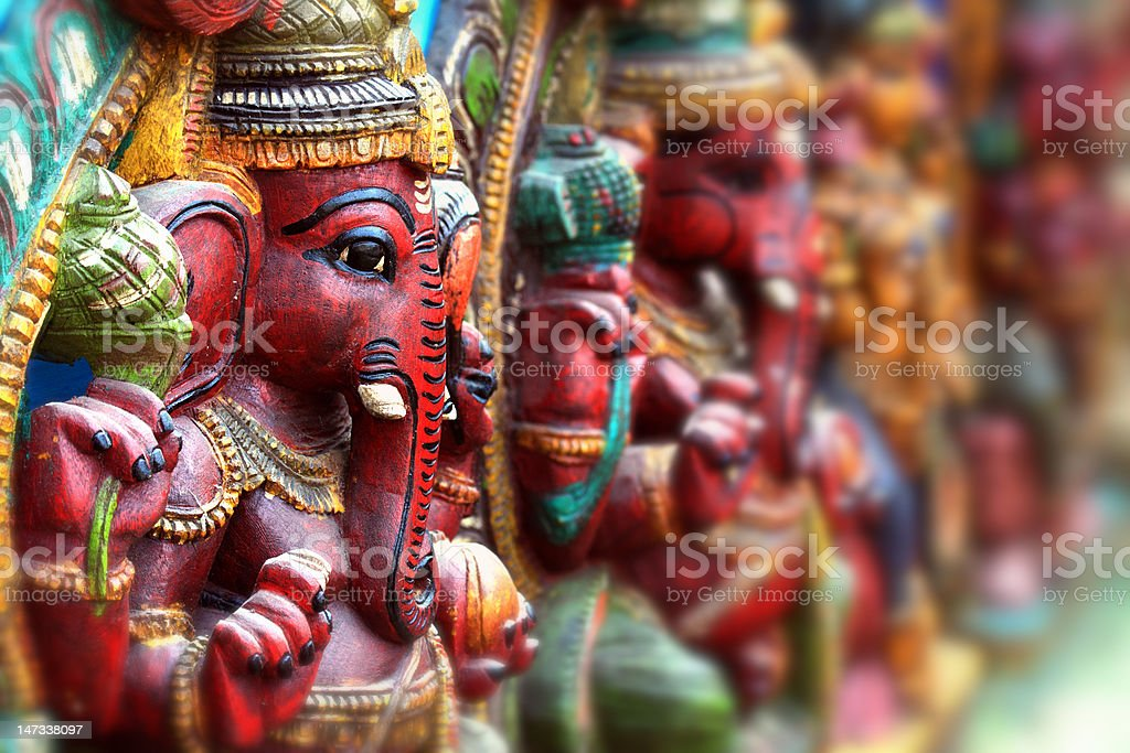 A close-up of Hindu god statues stock photo