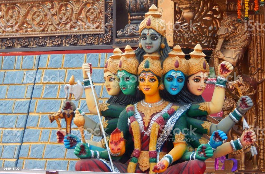 Closeup of Hindu Goddess Durga idol in karthika deepam ustav event lighting 1 crore lights .in Hyderabad,India stock photo