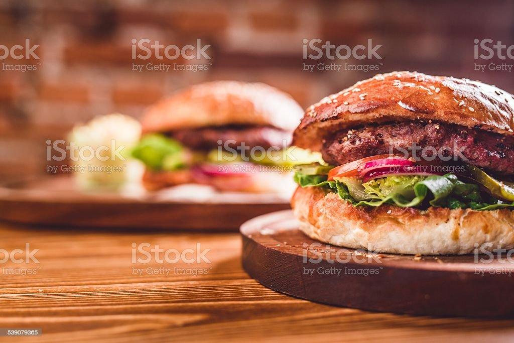 Closeup of home made burger stock photo