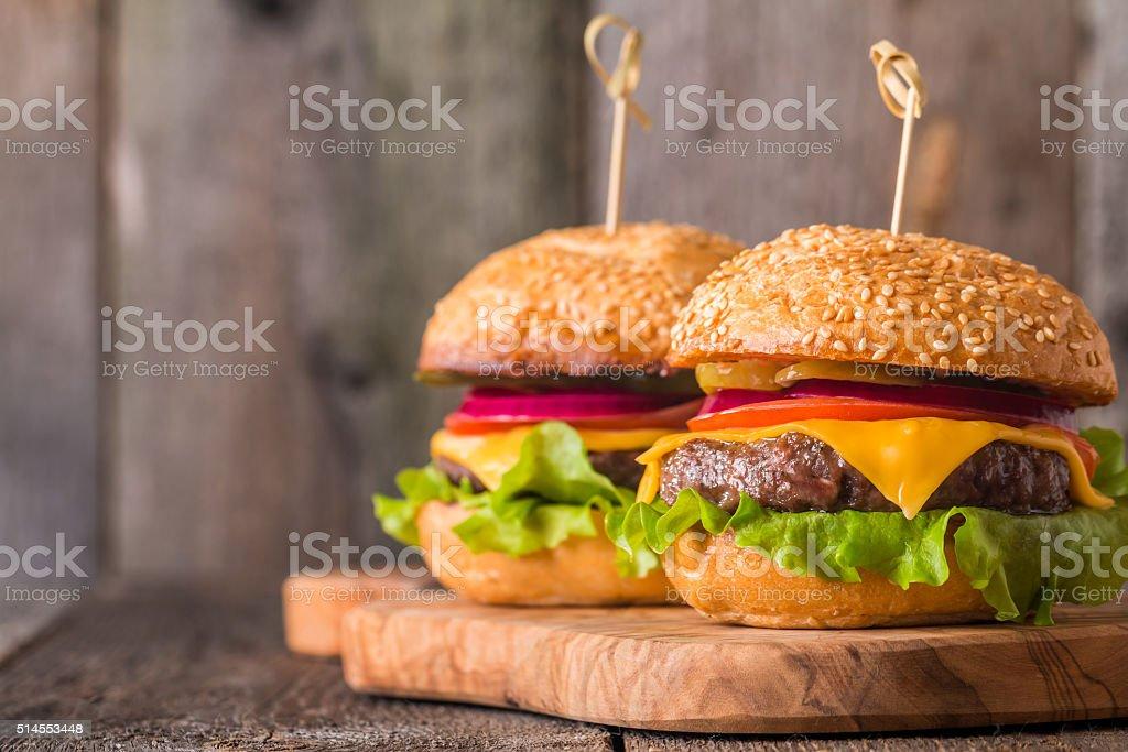 Closeup of home made burgers stock photo