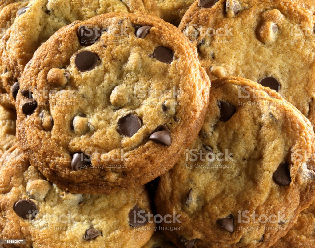Close-up of Homemade Chocolate Chip Cookies stock photo
