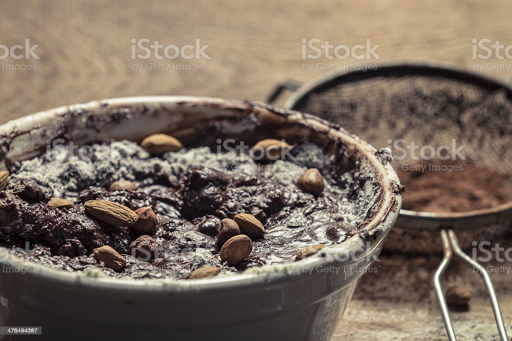 Closeup of homemade chocolate with nuts royalty-free stock photo