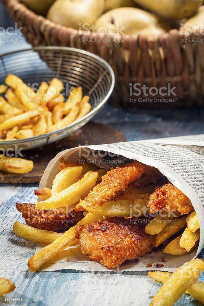 Closeup of homemade Fish & Chips royalty-free stock photo