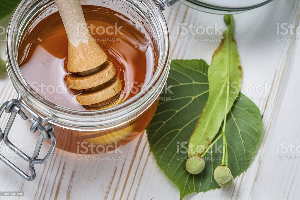 Closeup of honey dipper and lime leaves royalty-free stock photo