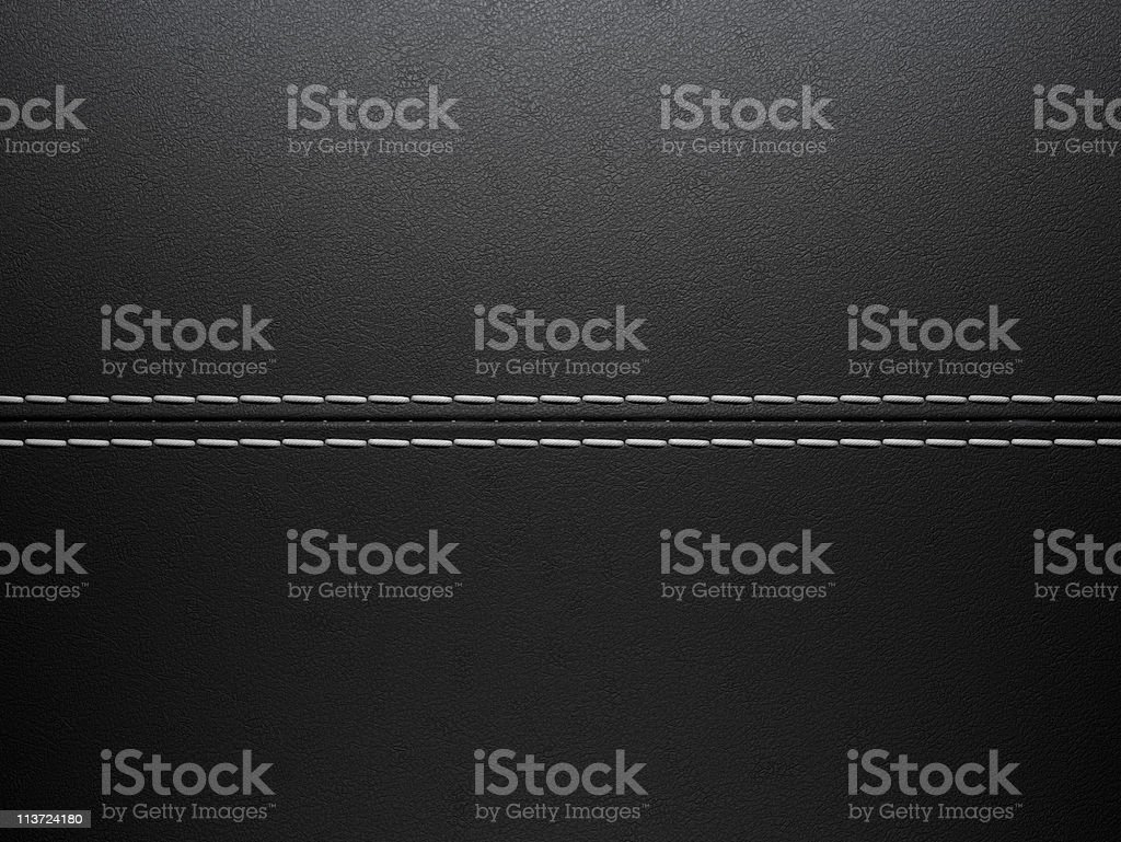 Close-up of horizontal white stitching over black leather stock photo