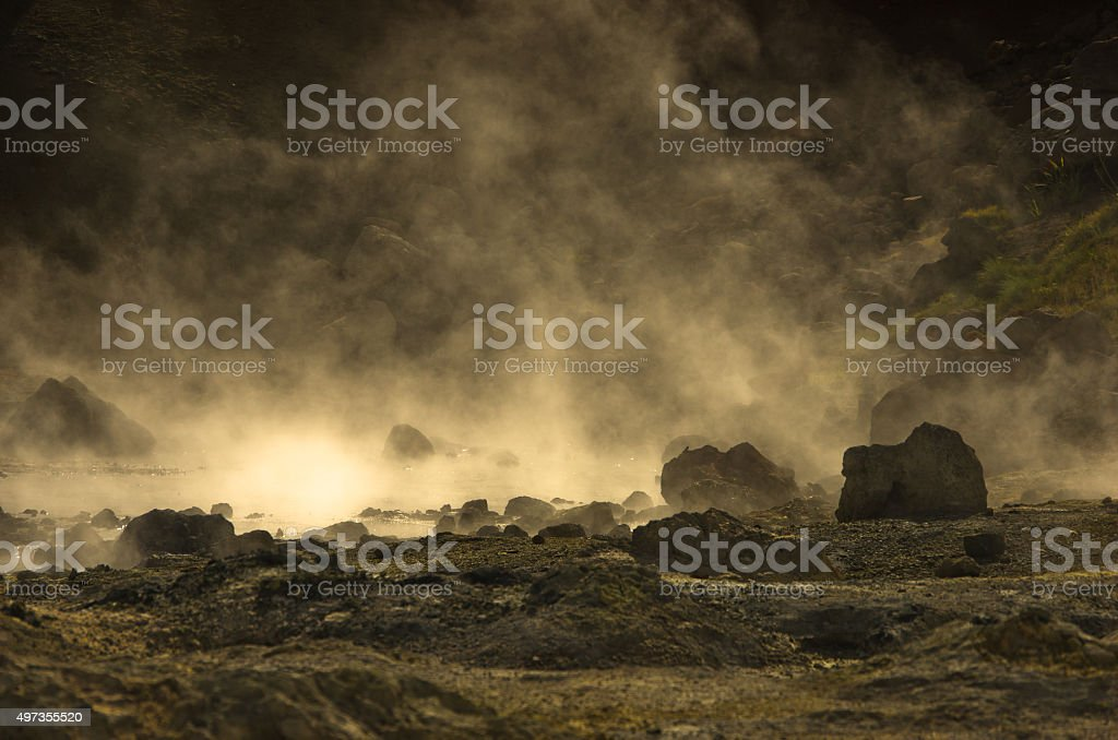 Closeup of hot springs at Krysuvik geothermal area stock photo