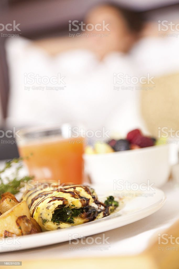 Closeup of hotel breakfast room service while guest is relaxing stock photo