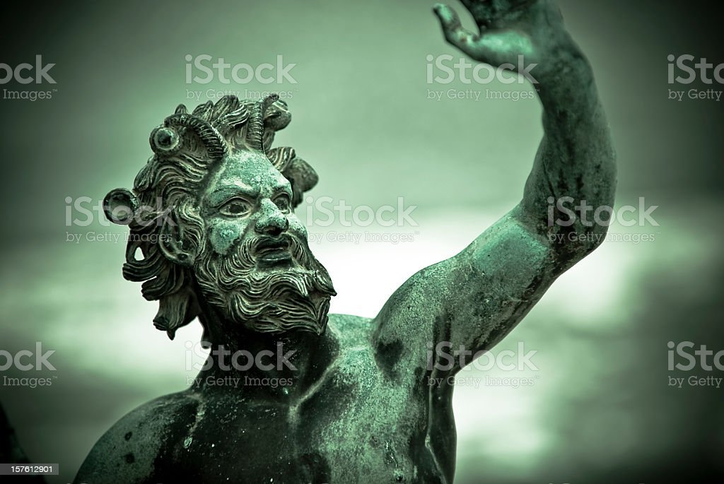 A close-up of House of the Faun, Satyr in Pompeii stock photo