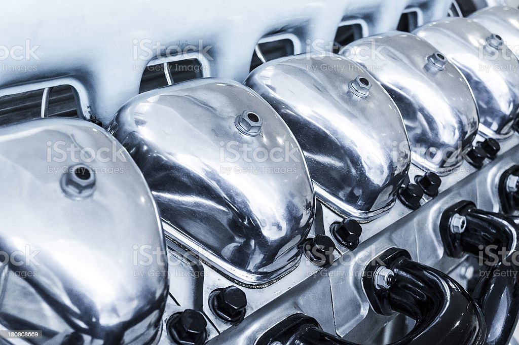Close-up of huge, powerful V12 truck engine royalty-free stock photo