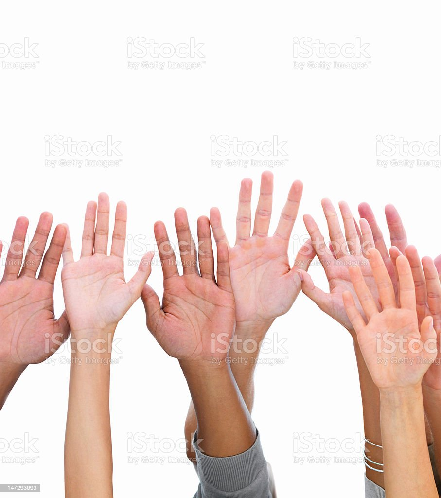 Close-up of human hands against white background royalty-free stock photo