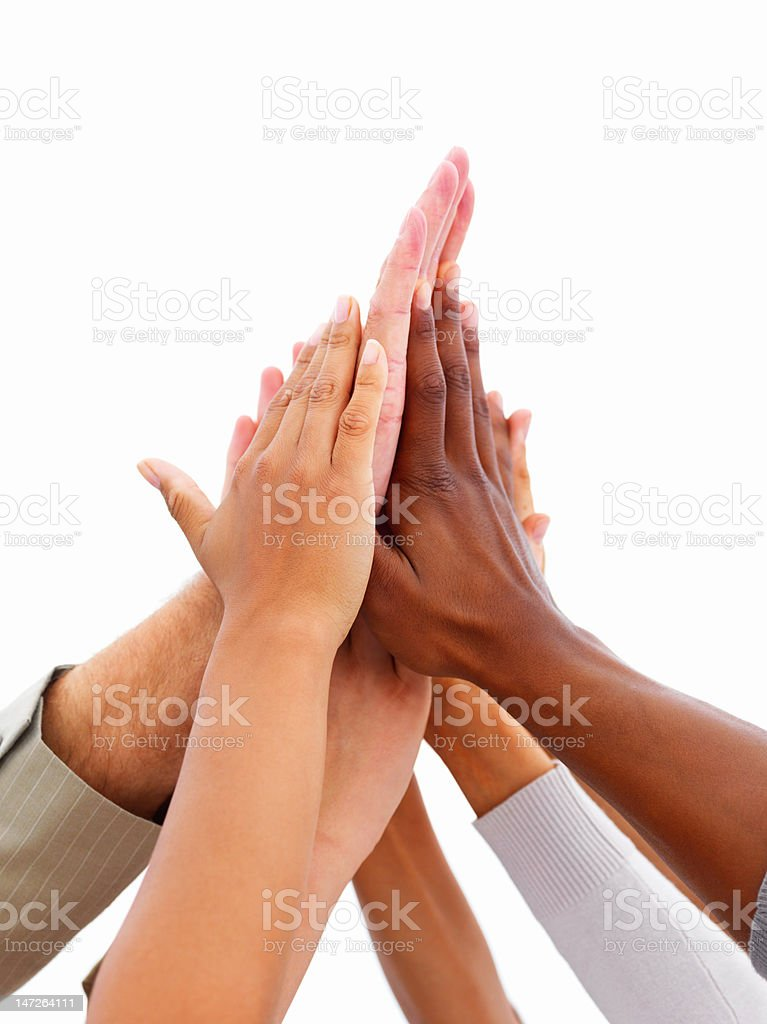 Close-up of human hands showing unity royalty-free stock photo