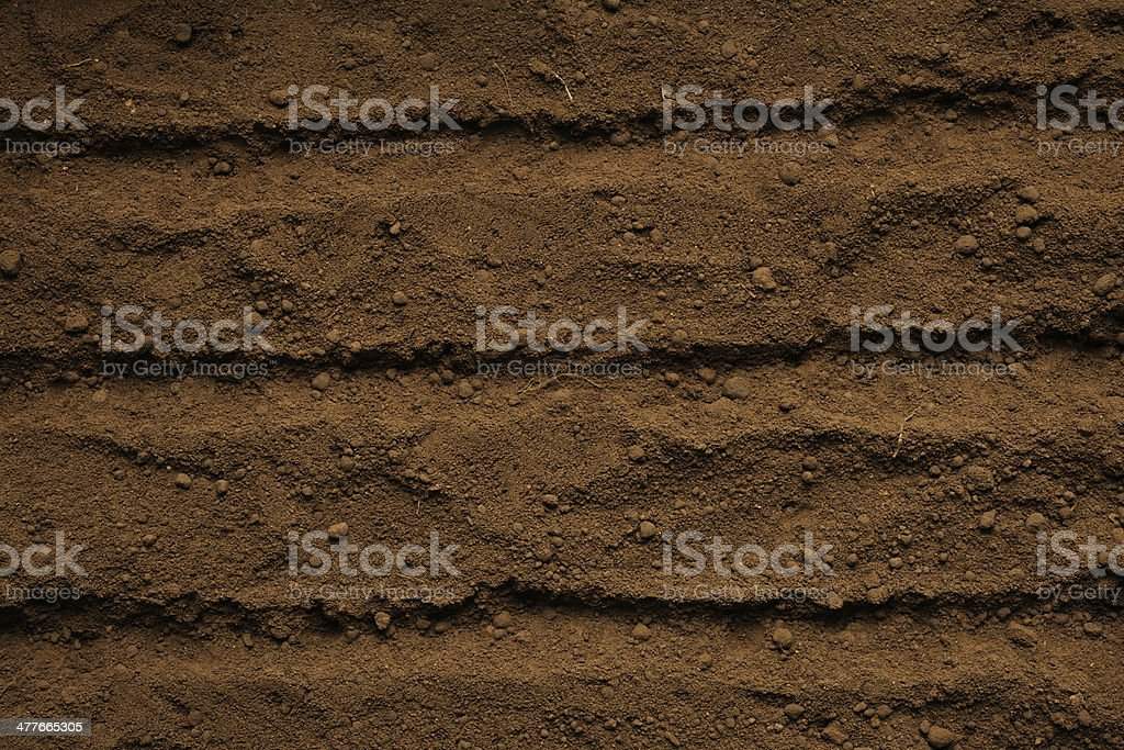 Close-up of humus soil with furrow stock photo