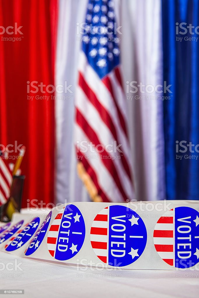 Close-up of I VOTED stickers at a Polling Station stock photo