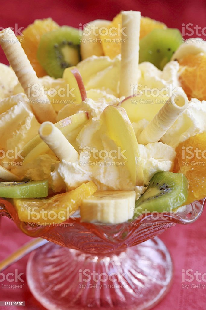Close-up of ice-cream sorbet made with fresh fruits in glass stock photo
