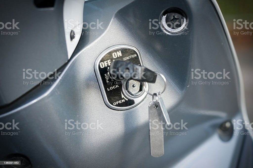 Close-up of ignition key in motorcycle  stock photo