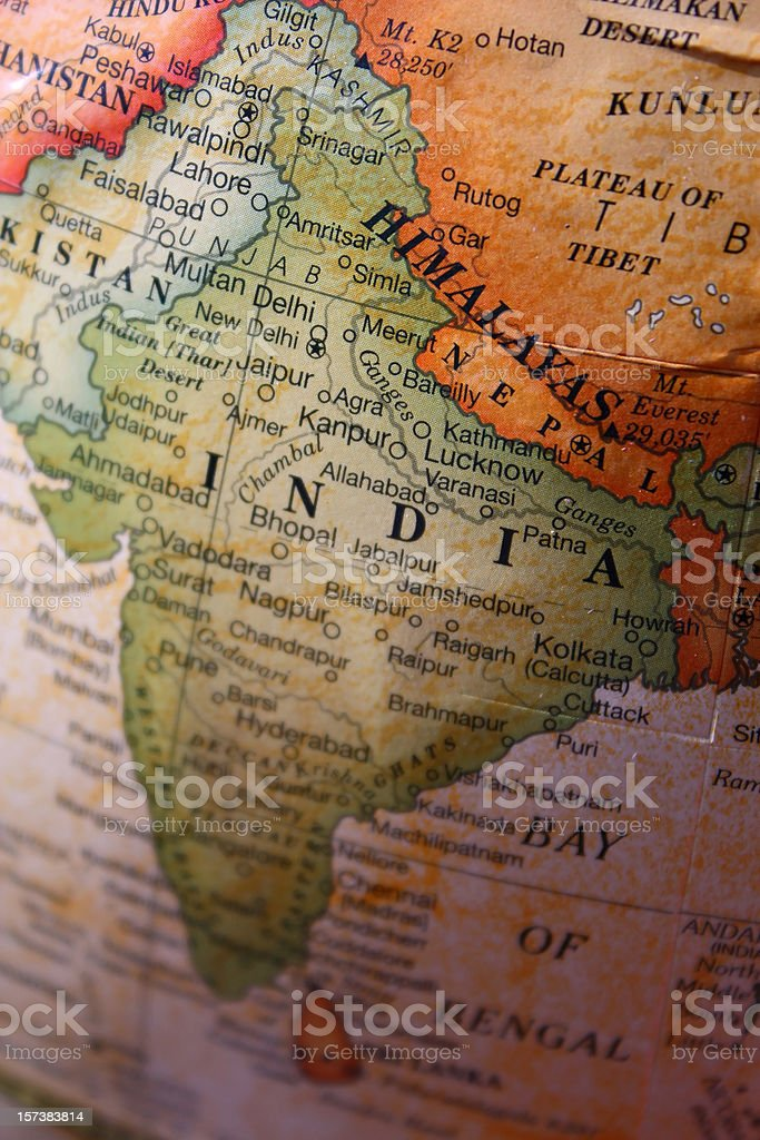 Close-up of India and its territory on a world map royalty-free stock photo