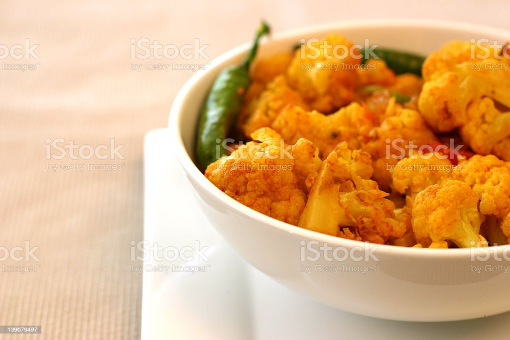 Close-up of Indian cauliflower dish in bowl royalty-free stock photo