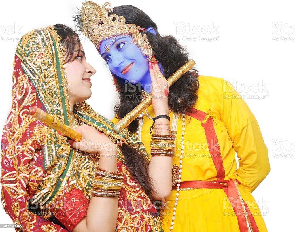 Closeup of Indian Idols- Radha Krishna on white background. stock photo