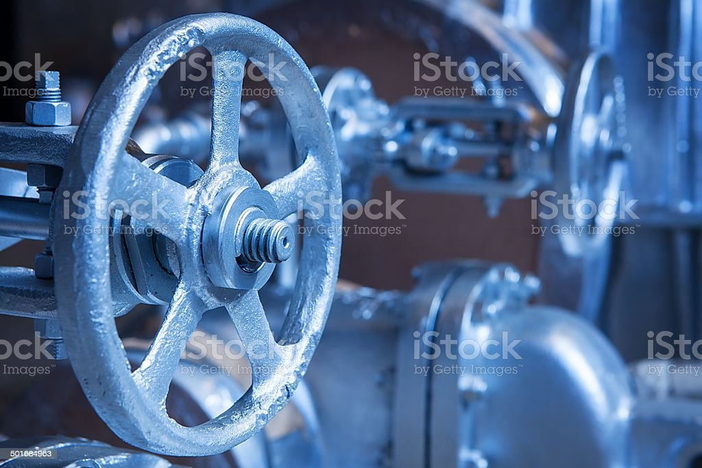 Close-up of industrial gate valve stock photo