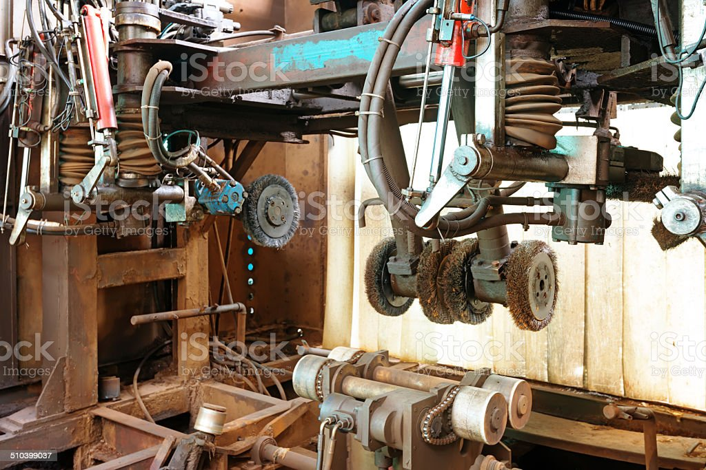 Closeup of innards of machine shop lathe stock photo