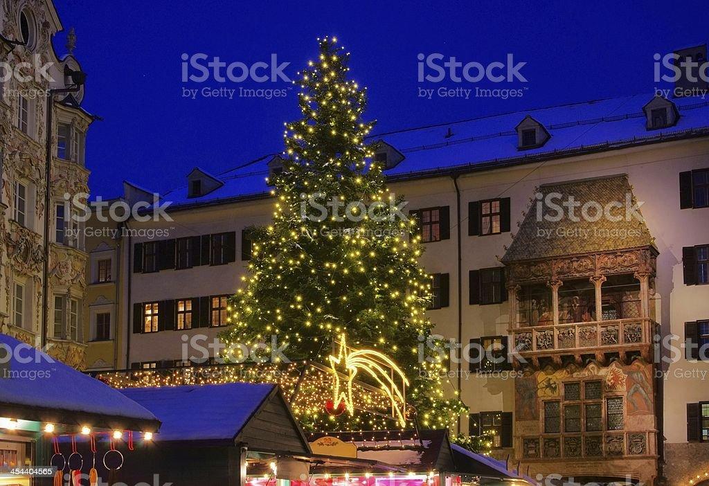 Close-up of Innsbruck Christmas market at night stock photo