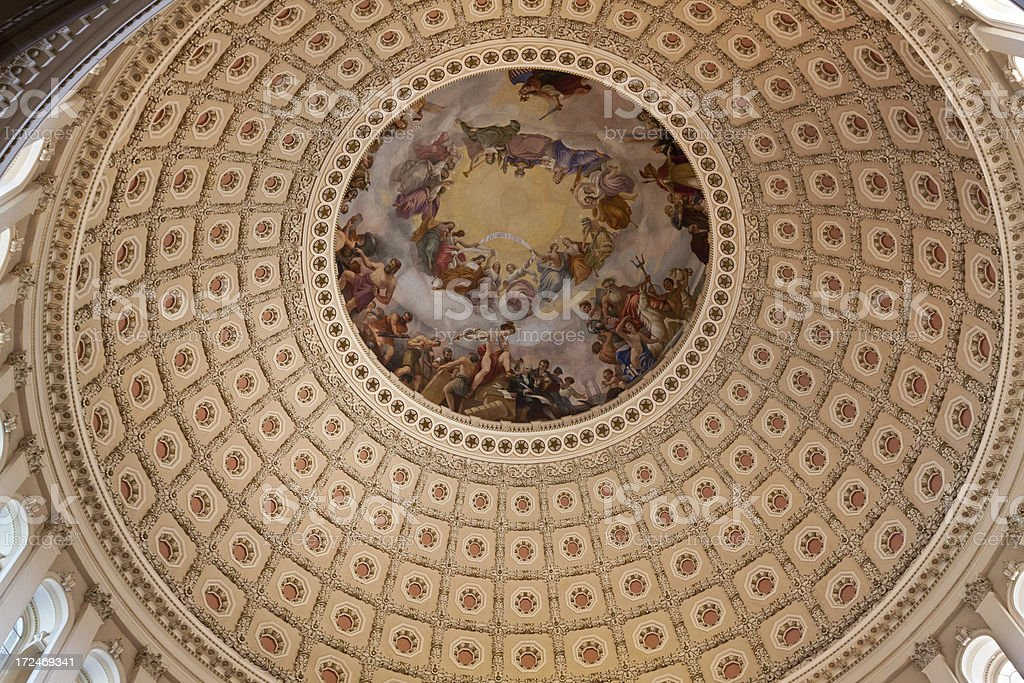 Close-up of interior of Capitol Building dome, Washington DC. royalty-free stock photo