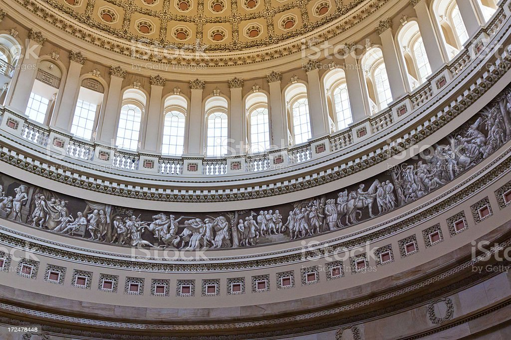 Close-up of interior of Capitol Building Dome, Washington DC, USA. stock photo