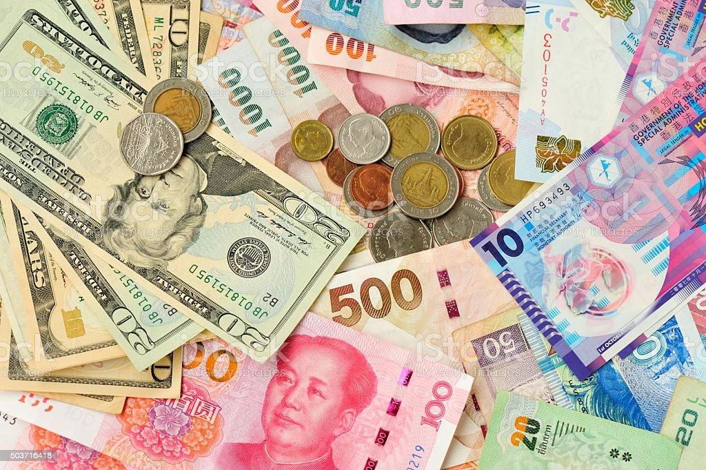 closeup of international cash stock photo