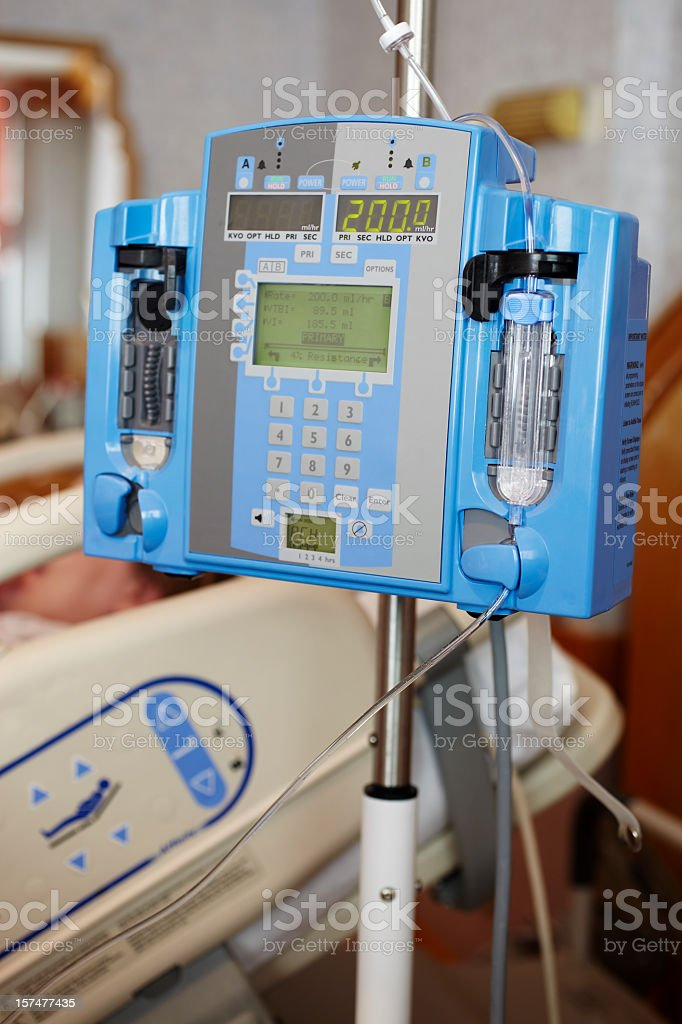 Close-up of intravenous IV drip infusion pump in hospital stock photo