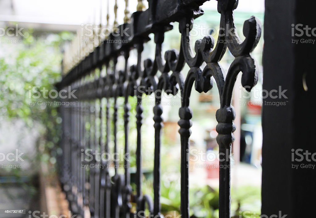 Close-up of iron railings in the park stock photo