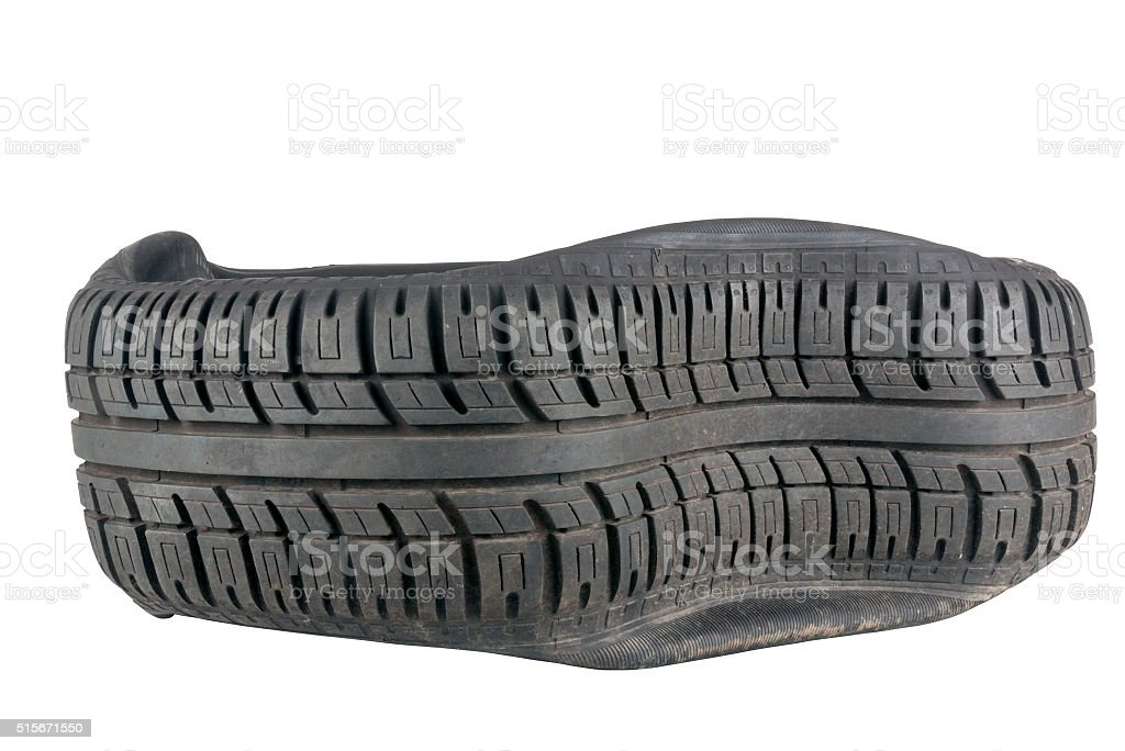 Closeup of Irregular Pattern in Tread on Tire after  Blowout stock photo