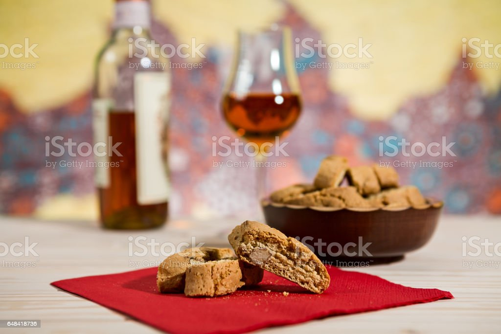 Closeup of Italian cantucci biscuits on a red napkin stock photo