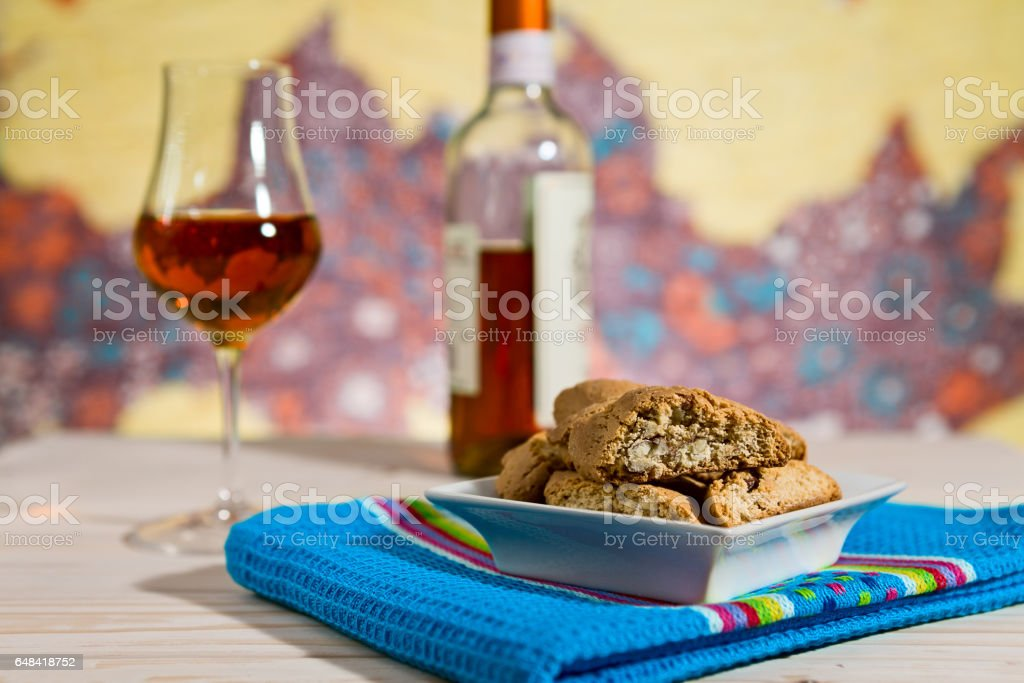 Closeup of Italian cantucci biscuits over a blue napkin stock photo