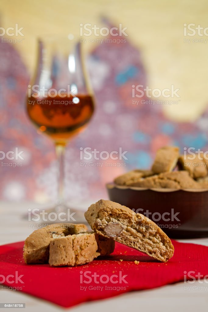 Closeup of Italian cantucci biscuits over a red napkin stock photo