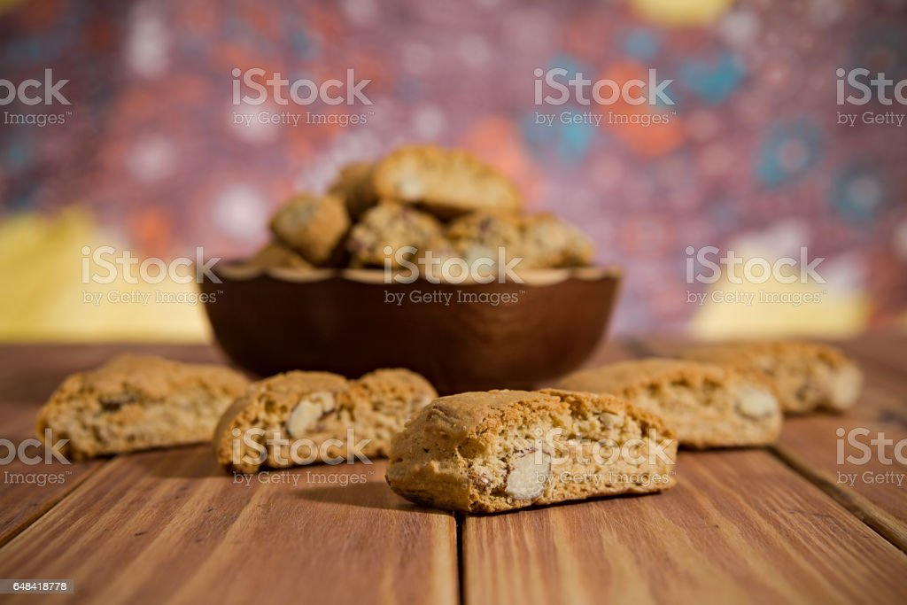 Closeup of Italian cantucci biscuits stock photo