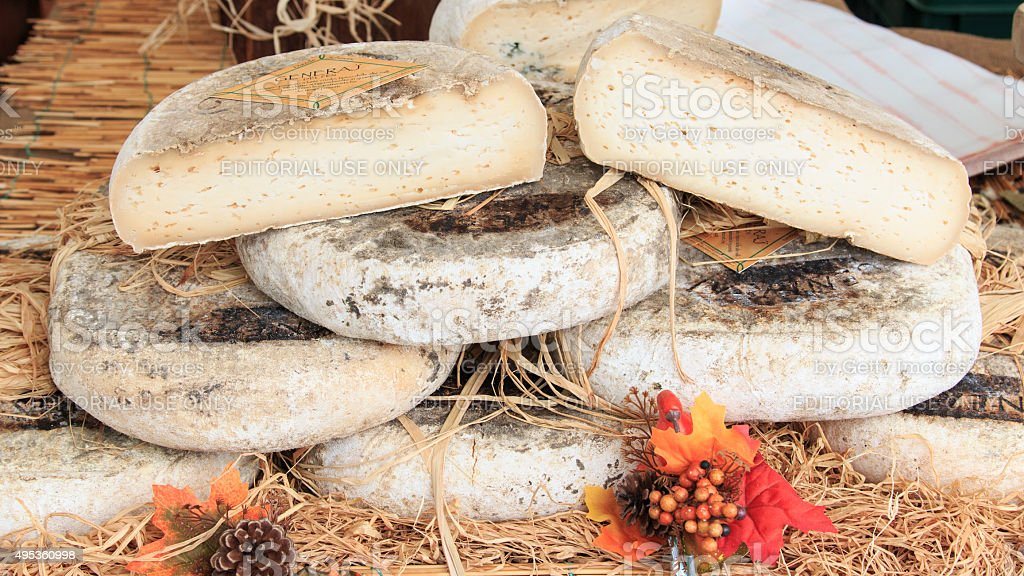 Closeup of Italian cheese at the Moncalvo truffle fair. stock photo