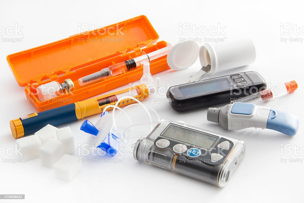 Close-up of items needed to control diabetes stock photo
