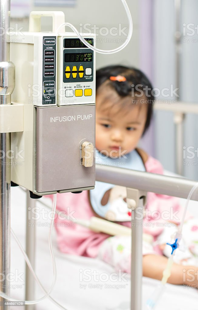 Close-up of IV machine with epidural equipment attached stock photo