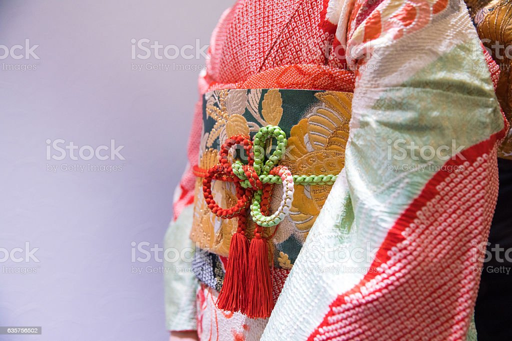 Closeup of Japanese Furisode costume stock photo