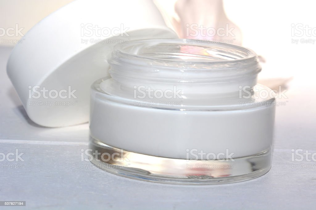 Closeup of jar of moisturizing face cream. stock photo